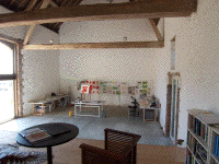Unfinished main room of Les Coqulicots, by James S. Rossant of James Rossant Architects